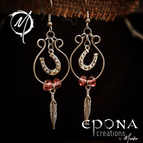 Dusty Pink Beaded looped earrings handmade custom jewellery and gifts epona creations by monika made in australia