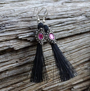 Bling Rhinestone Horse Hair Tassle Earrings - Fuchsia