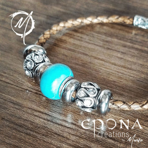Earth / Brown Turquoise Look Beaded Leather Bracelet by Epona Creations handmade custom jewellery and gifts epona creations by monika made in australia