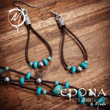 Load image into Gallery viewer, Handmade leather and turquoise coloured beaded earrings. handmade custom jewellery and gifts epona creations by monika made in australia