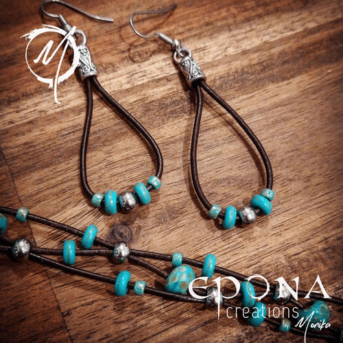 Handmade leather and turquoise coloured beaded earrings. handmade custom jewellery and gifts epona creations by monika made in australia