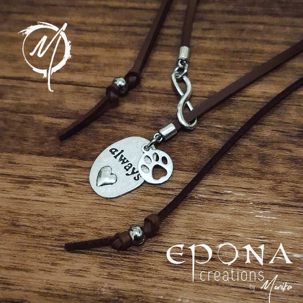 Necklace Paw Prints Forever on my Heart Necklace - Brown handmade custom jewellery and gifts epona creations by monika made in australia