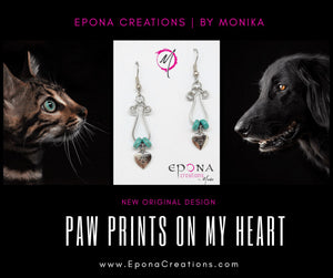 Paw Prints on my Heart Drop Earrings handmade custom jewellery and gifts epona creations by monika made in australia