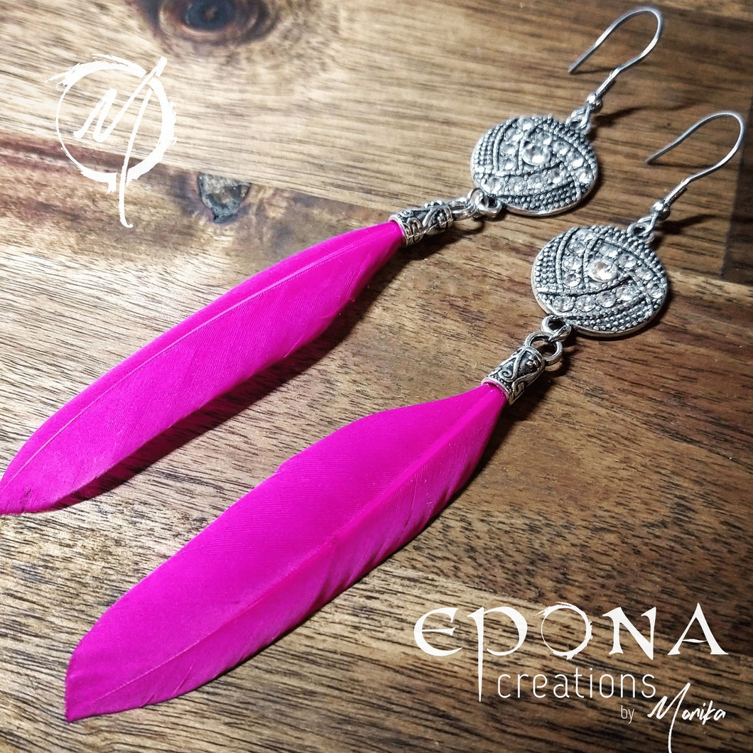 Pink Rhinestone and Feather Earrings handmade custom jewellery and gifts epona creations by monika made in australia