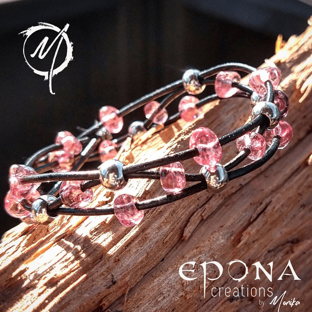 Pink Stock Pretty in Pink glass beaded leather bracelet handmade custom jewellery and gifts epona creations by monika made in australia