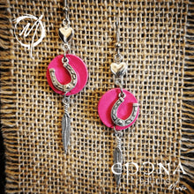 Load image into Gallery viewer, Pink with standard feather Leather, Horseshoe and feather tassle earrings handmade custom jewellery and gifts epona creations by monika made in australia