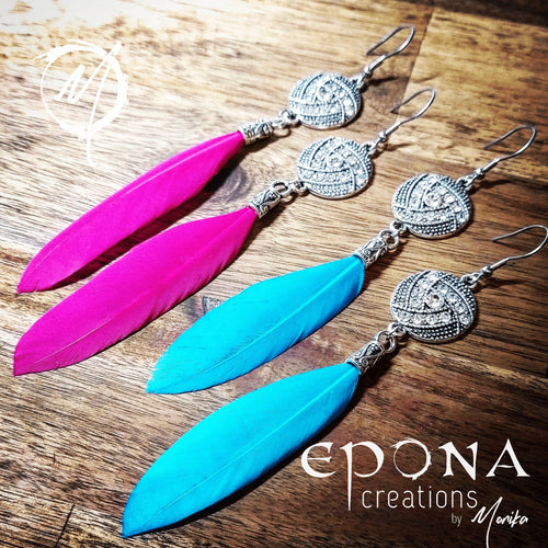 Rhinestone and Feather Earrings handmade custom jewellery and gifts epona creations by monika made in australia