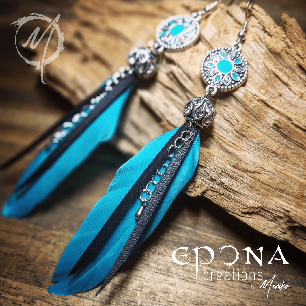 stainless steel Ear hooks Blue Feather Rhinestone Bling Drop Earrings handmade custom jewellery and gifts epona creations by monika made in australia