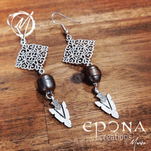 Load image into Gallery viewer, Stainless Steel Ear Hooks Freshwater Pearl and Arrowhead Dangle Earrings handmade custom jewellery and gifts epona creations by monika made in australia