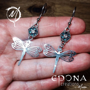 Stainless Steel Ear Wire Blue Rhinestone and Silver Dragonfly Earrings handmade custom jewellery and gifts epona creations by monika made in australia