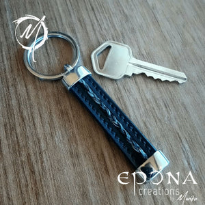Stainless Steel , Leather Key ring fob with braided  horsehair handmade custom jewellery and gifts epona creations by monika made in australia
