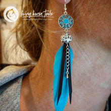 Load image into Gallery viewer, Sterling Silver ear hooks Blue Feather Rhinestone Bling Drop Earrings handmade custom jewellery and gifts epona creations by monika made in australia