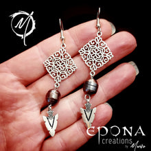 Load image into Gallery viewer, Sterling Silver Ear Hooks Freshwater Pearl and Arrowhead Dangle Earrings handmade custom jewellery and gifts epona creations by monika made in australia