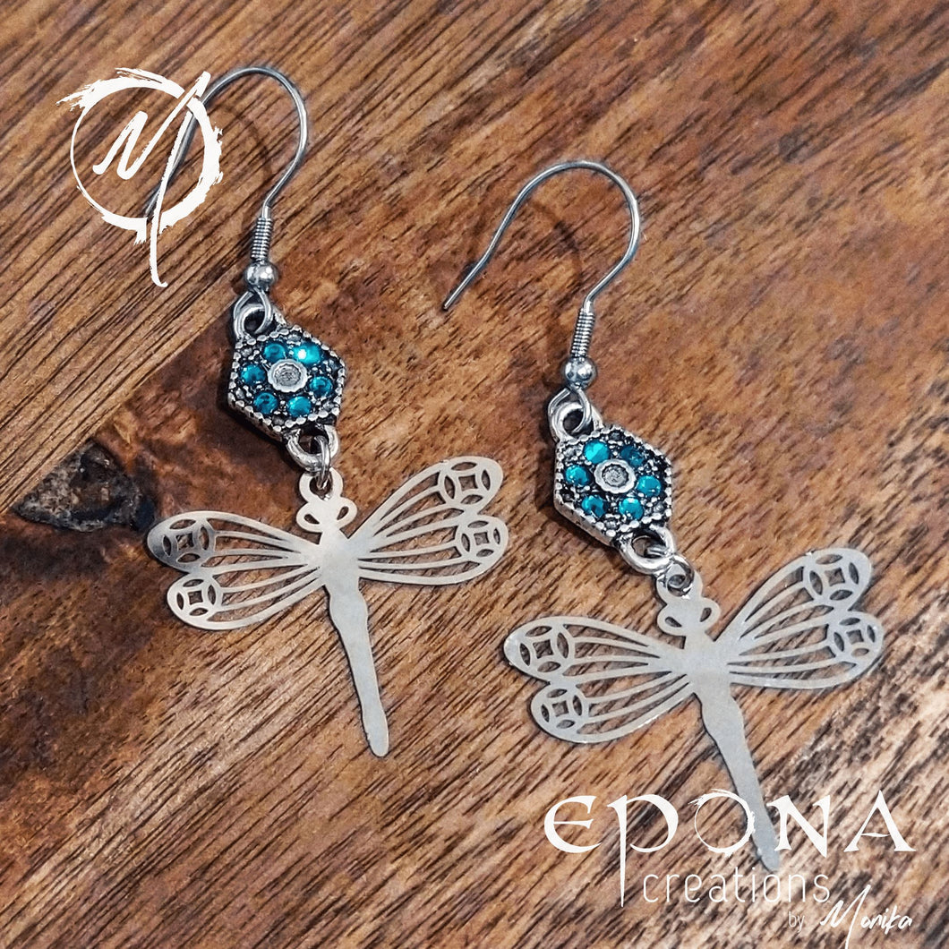 Sterling Silver Ear Wire Blue Rhinestone and Silver Dragonfly Earrings handmade custom jewellery and gifts epona creations by monika made in australia