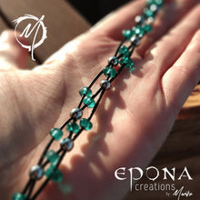 Load image into Gallery viewer, Teal Green Stock Teal Green glass beaded leather bracelet handmade custom jewellery and gifts epona creations by monika made in australia