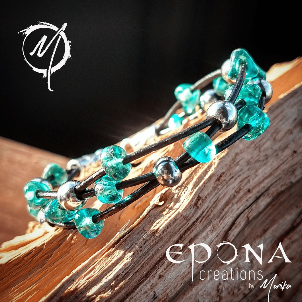 Teal Green Stock Teal Green glass beaded leather bracelet handmade custom jewellery and gifts epona creations by monika made in australia