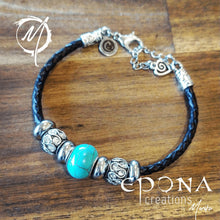 Load image into Gallery viewer, Turquoise Look Beaded Leather Bracelet by Epona Creations handmade custom jewellery and gifts epona creations by monika made in australia