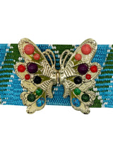 Beaded Butterfly Belt - Turq./ Grass - Meghan Fabulous