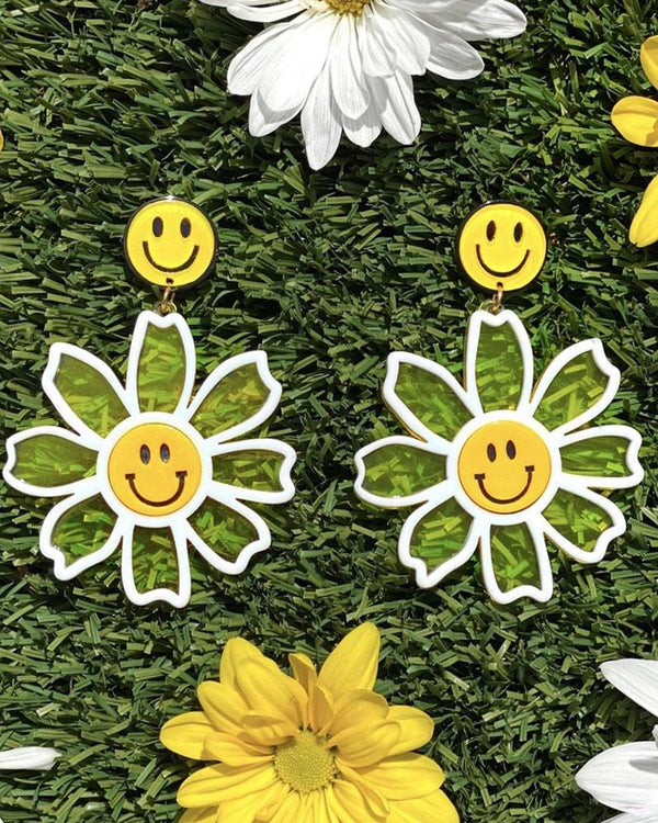 Happy Sunshine Flower Earrings - Yellow - Meghan Fabulous