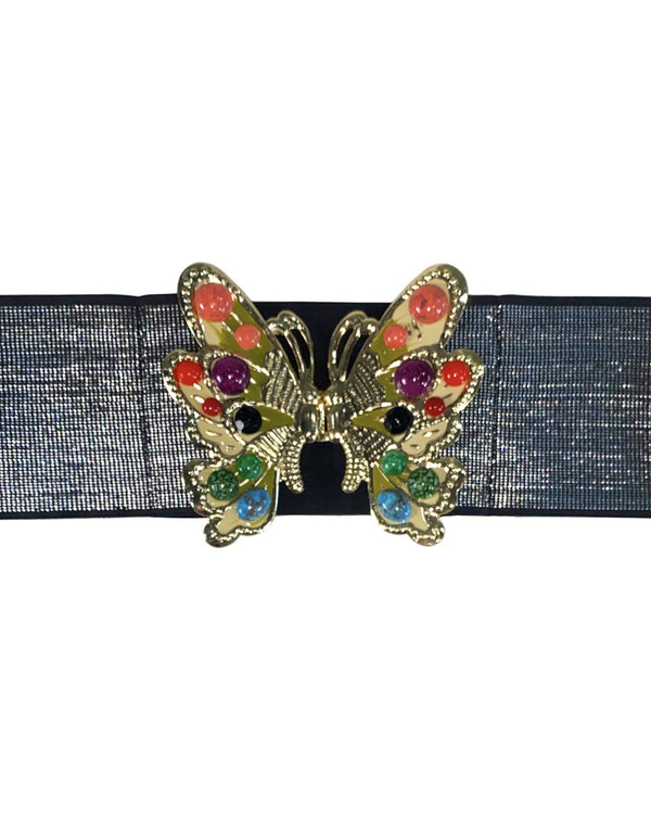 Beaded Butterfly Belt - Black Sparkle