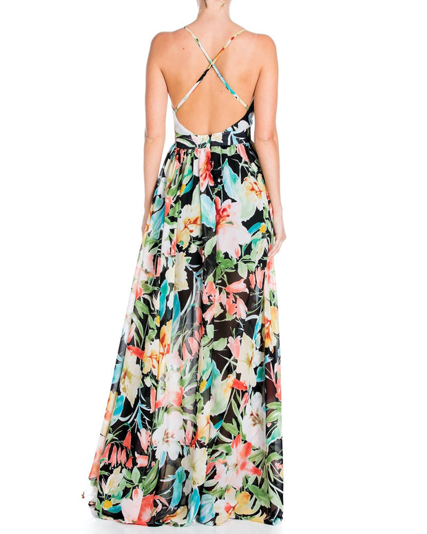 Enchanted Garden Maxi Dress - Black Watercolor 1