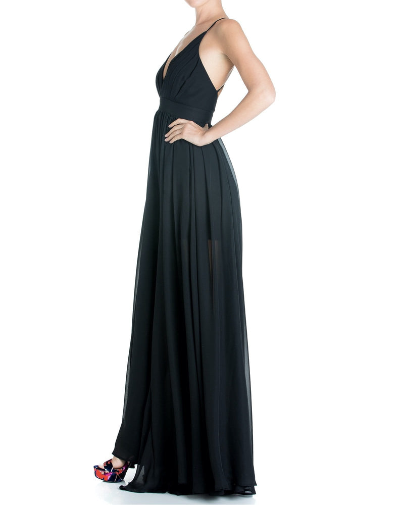 Enchanted Garden Maxi Dress - Black