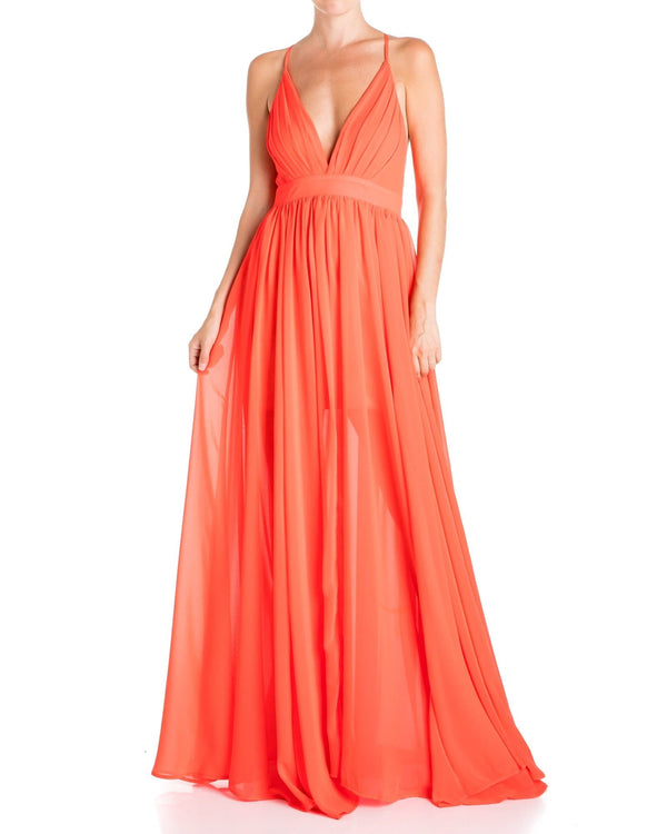 Enchanted Garden Maxi Dress - Flame - Meghan Fabulous