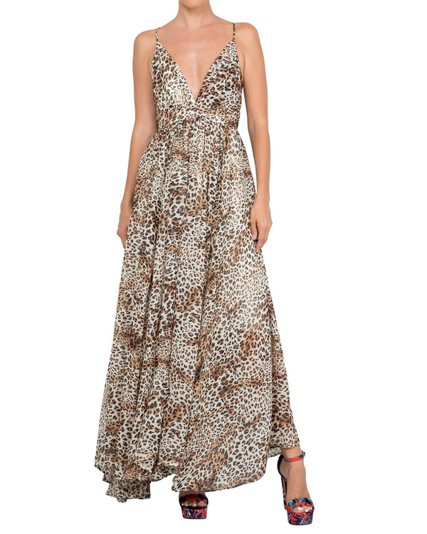 Enchanted Garden Maxi Dress - Leopard