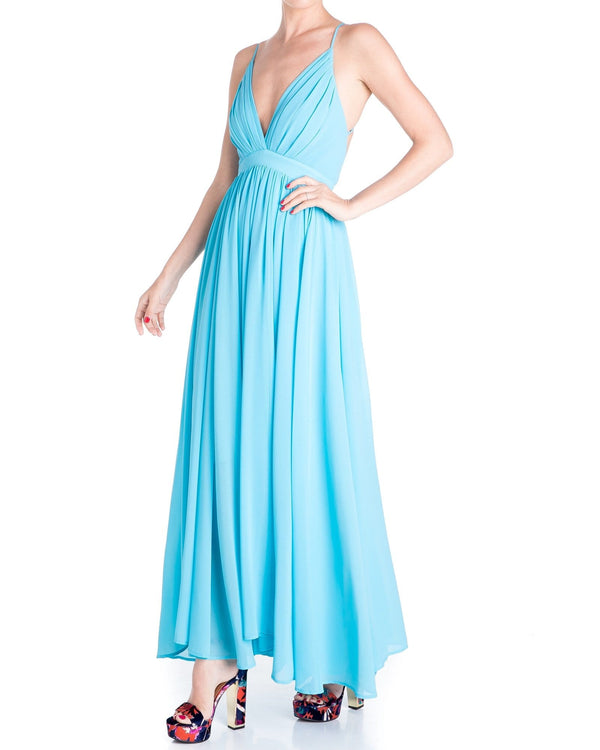 Enchanted Garden Maxi Dress - Turquoise