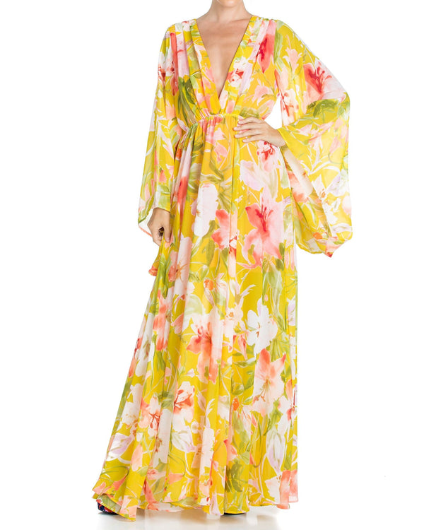 Sunset Maxi Dress - Yellow Watercolor
