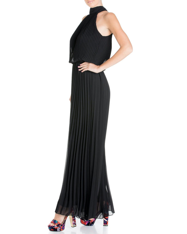 Wild Orchid Pleat Jumpsuit - Black - Meghan Fabulous