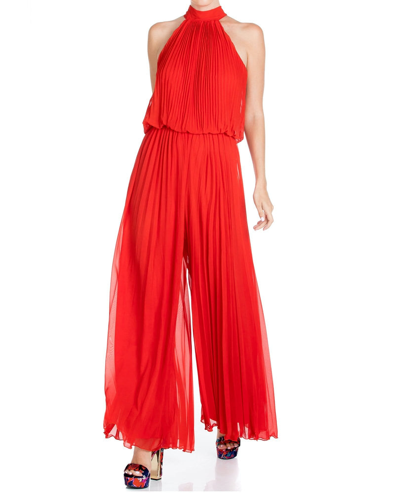 Wild Orchid Pleat Jumpsuit - Tomato