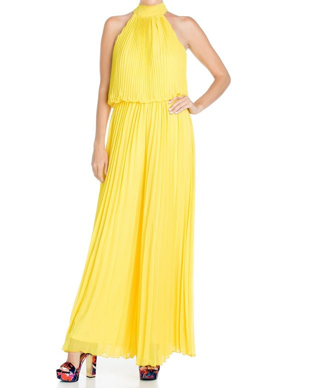 Wild Orchid Pleat Jumpsuit - Yellow 1