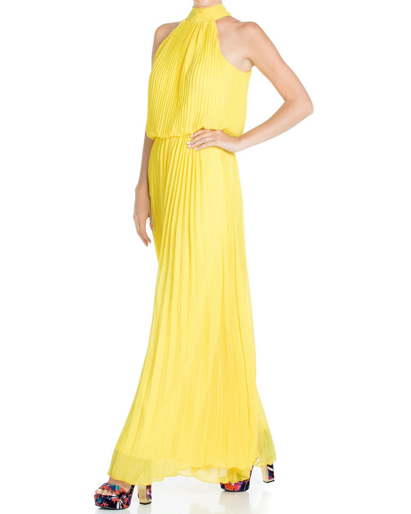 Wild Orchid Pleat Jumpsuit - Yellow