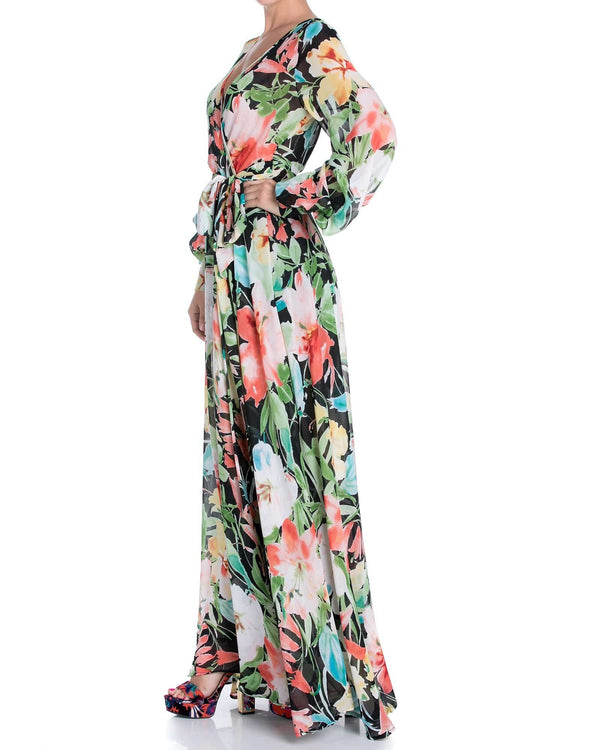 LilyPad Maxi Dress - Black Watercolor