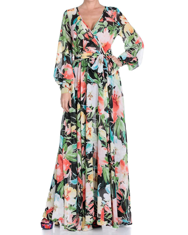 LilyPad Maxi Dress - Black Watercolor - Meghan Fabulous