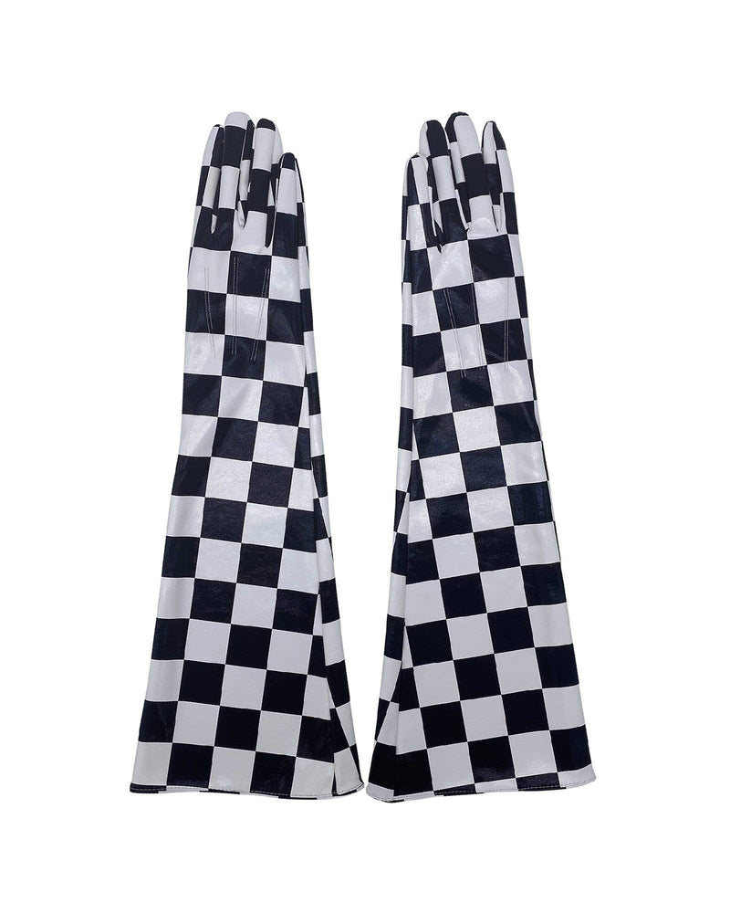 Infinity Faux Leather Gloves - Black/ White Check