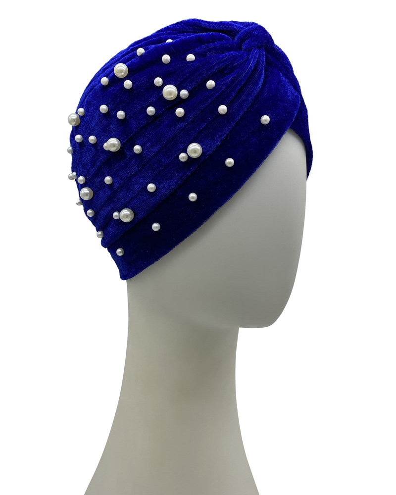 Psychic Friends Velvet Ruffle Turban - Royal Blue