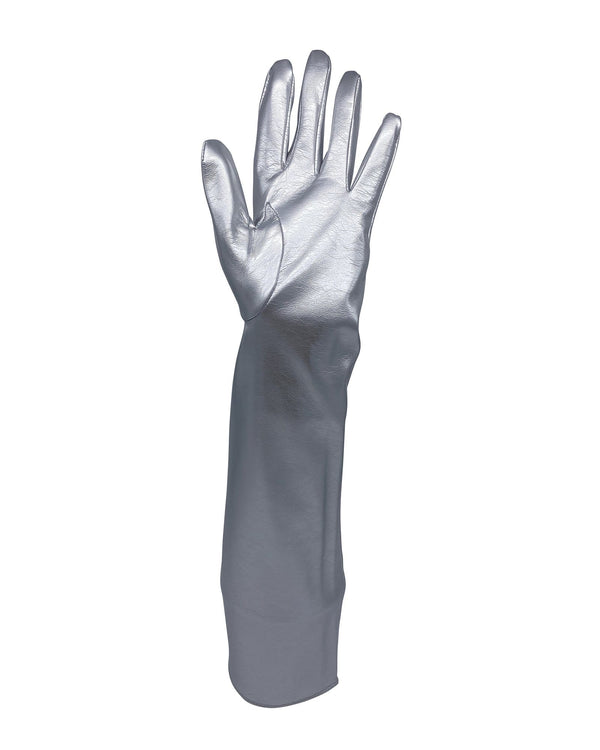 Infinity Faux Leather Gloves - Silver Metallic