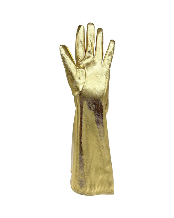 Infinity Faux Leather Gloves - Gold