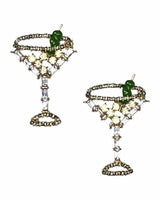 Martini Time Rhinestone Earrings