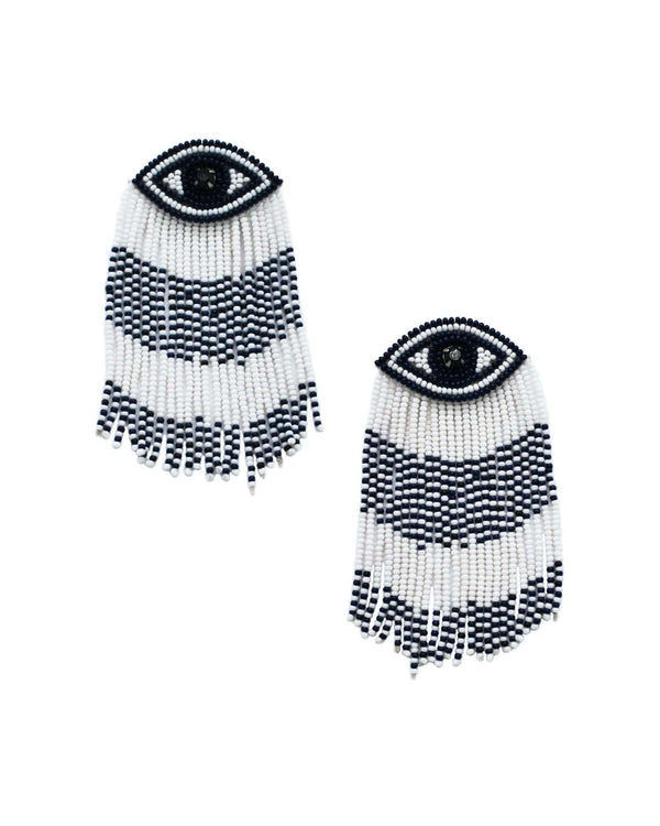 Ocean Eyes Fringe Earrings - Navy/White - Meghan Fabulous