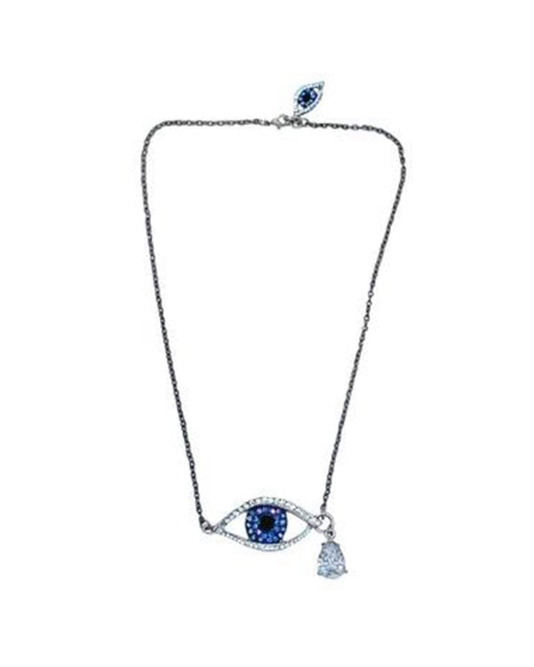 Silver Teardrop Evil Eye Necklace