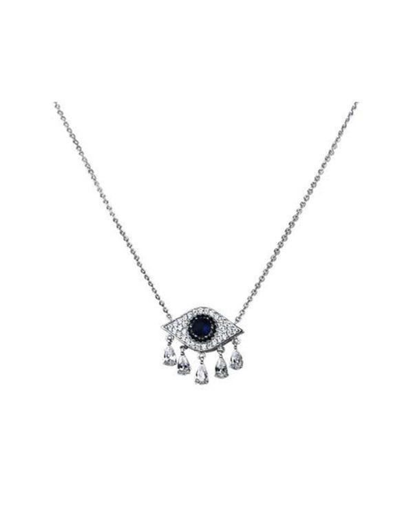 Silver Crying Evil Eye Necklace