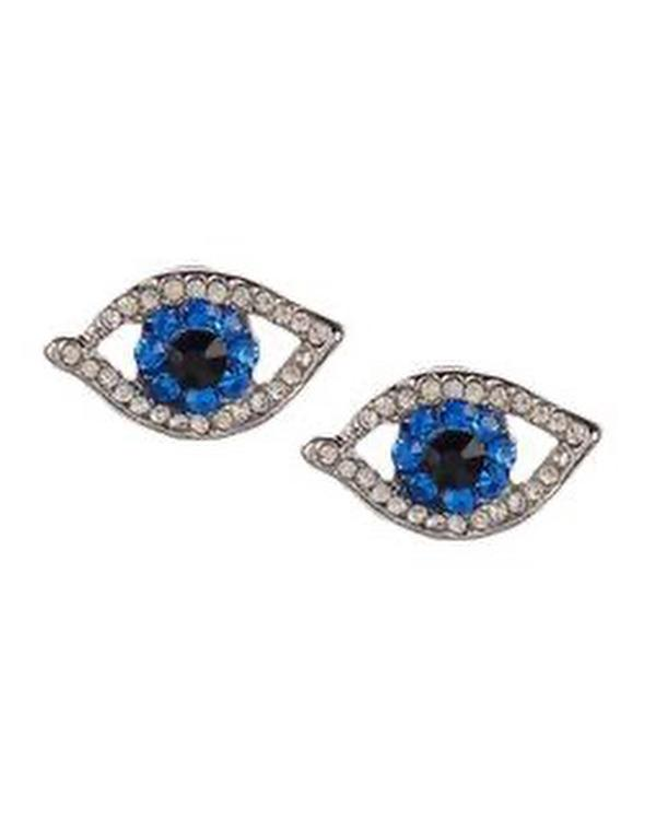 Silver Mini Rhinestone Evil Eye Earrings - Meghan Fabulous