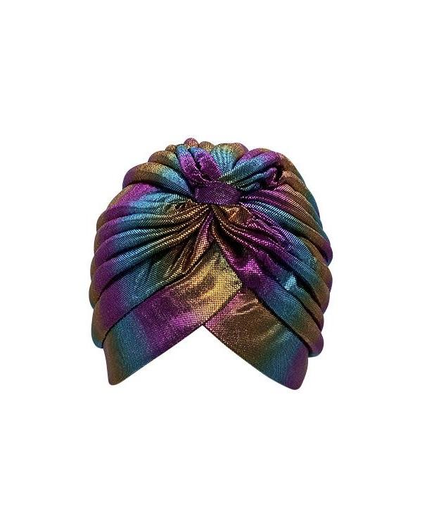 Psychic Friends Rainbow Metallic Turban-Dark Metallic