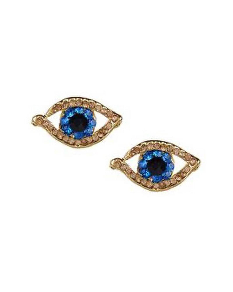 Gold Mini Rhinestone Evil Eye Earrings - Meghan Fabulous