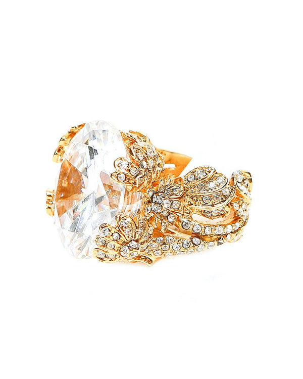 Les Floritas Ring - Crystal/ Gold - Meghan Fabulous