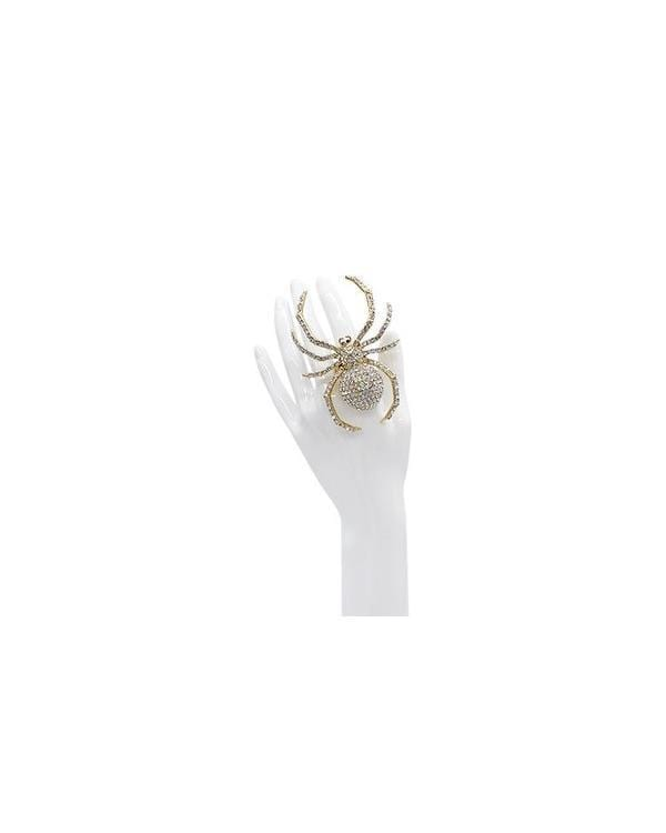 Not So Itsy Bitsy Crystal Spider Ring- Gold