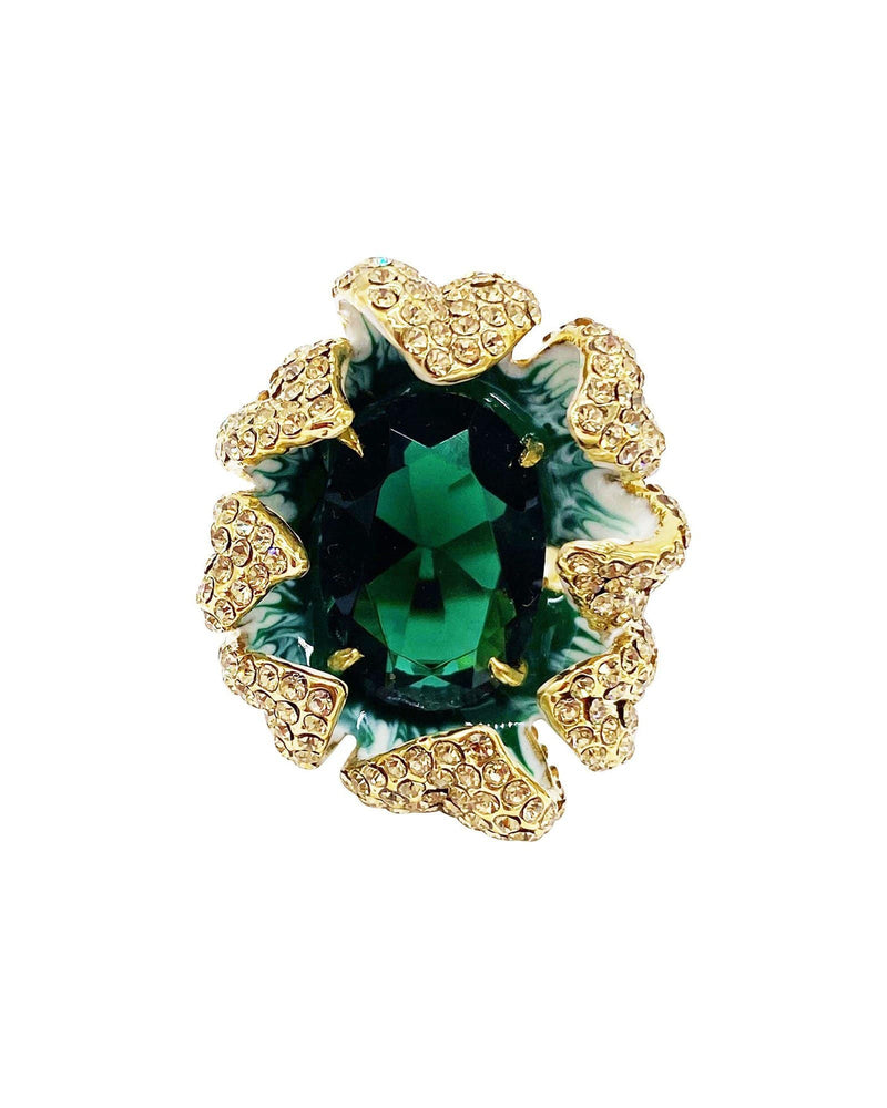 Marigold Flower Cocktail Ring - Emerald - Meghan Fabulous